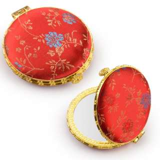 Дзеркало косметичне кругле в китайському стилі 8см червоне оптом