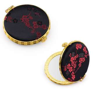 Дзеркало косметичне кругле в китайському стилі 8см чорне оптом