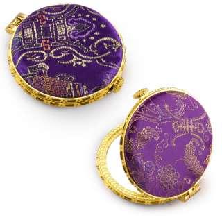 Дзеркало косметичне кругле в китайському стилі 8см фіолетове оптом