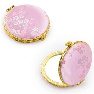 Дзеркало косметичне кругле в китайському стилі 8см рожеве оптом