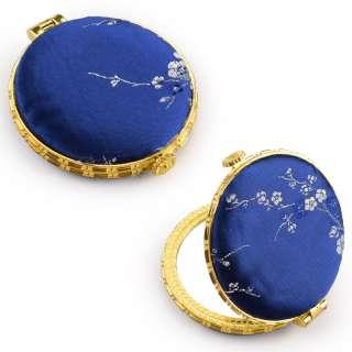 Дзеркало косметичне кругле в китайському стилі 8см сине оптом