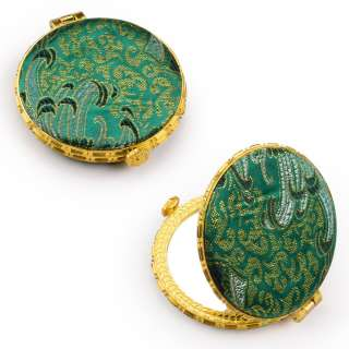 Зеркало косметическое круглое в китайском стиле 8см зеленое оптом