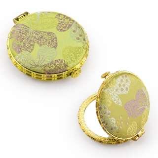 Зеркало косметическое круглое в китайском стиле 8см салатовое оптом