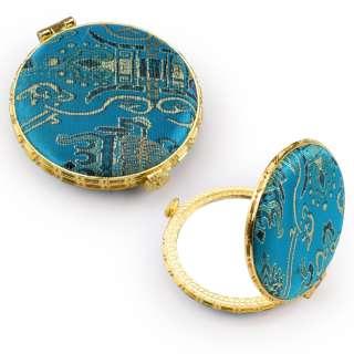 Зеркало косметическое круглое в китайском стиле 8см бирюзовое оптом