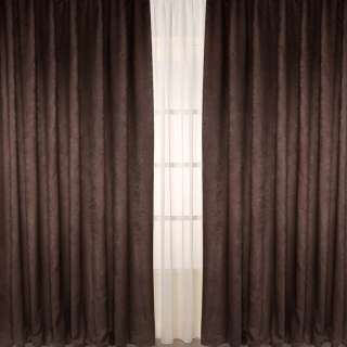 Портьера софт коричневая темная, высота 2,78, ширина 2,65 (комплект 2шт) оптом