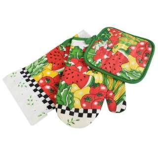 Прихватка, перчатка, полотенце 38х64 см белое с овощами фруктами оптом