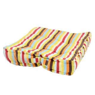 Подушка для стульев 40х40 см в полоску желтую голубую оранжевую и коричневую оптом