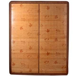 Покрывало циновка бамбук 150х195 см раскладное лакированное с цветами листьями бежевое оптом
