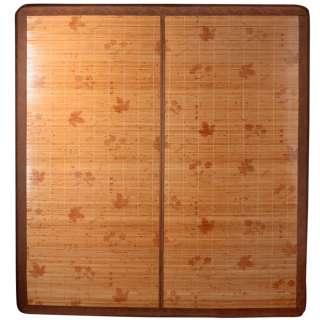 Покрывало циновка бамбук 180х195 см раскладное лакированное с цветами листьями бежевое оптом