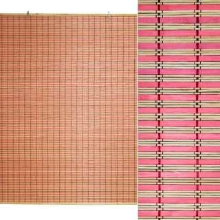 Ролеты из бамбуковой соломки debel 120х150 см полоски натуральные и розовые оптом