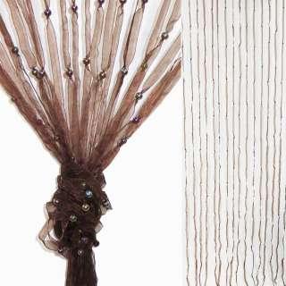 Штора декоративна з капронової тасьми 80х175 см коричнева оптом