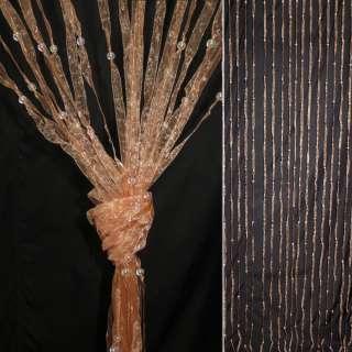 Штора декоративна з капронової тасьми 80х175 см персикова оптом