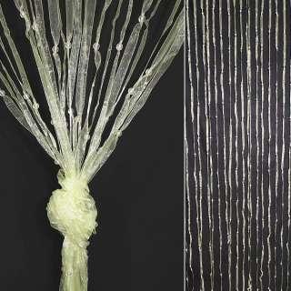 Штора декоративна з капронової тасьми 80х175 см молочна оптом
