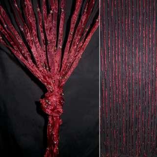 Штора декоративна з капронової тасьми 80х175 см бордова оптом