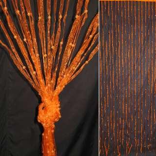 Штора декоративна з капронової тасьми 80х175 см помаранчева оптом