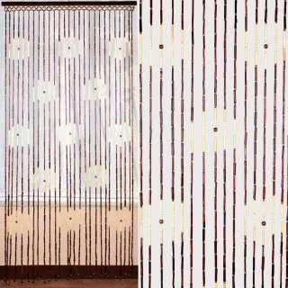 Дверная шторка деревянная 90х180 см круги коричнево-бежевая оптом