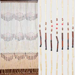 Дверна шторка дерев'яна 90х180см орнамент бежево-коричнева оптом