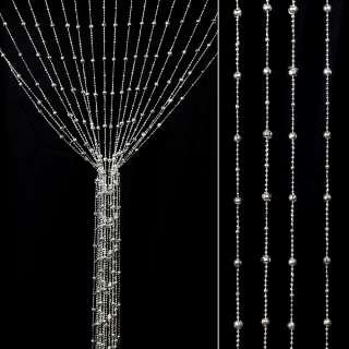 Штора декоративна пластик гранована кулька 80х175 см срібляста оптом