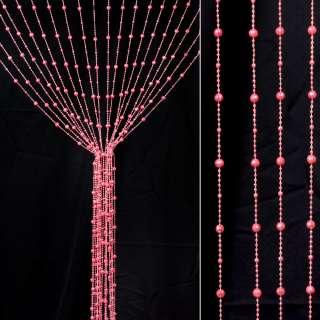 Штора декоративна пластик гранована кулька 80х175 см рожева яскрава оптом