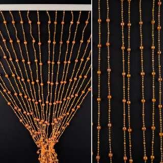 Штора декоративна пластик гранована кулька  80х175 см оранжева темна оптом