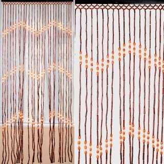 Дверна шторка дерев'яна 85х175 см зигзаг коричнево-оранжева оптом