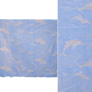 Шторка для ванної з дельфінами 182х182 см блакитна оптом