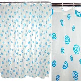 Шторка для ванної з завитками 182х182 см біло-блакитна оптом