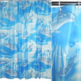 Шторка для ванной с дельфинами 170х180 см голубая оптом