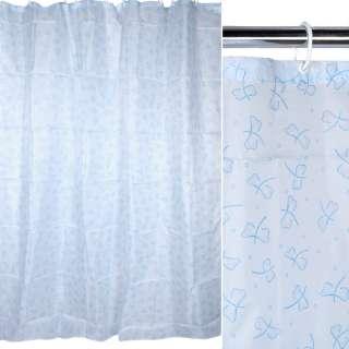 Шторка для ванной с бабочками 170х180 см розово-голубая оптом