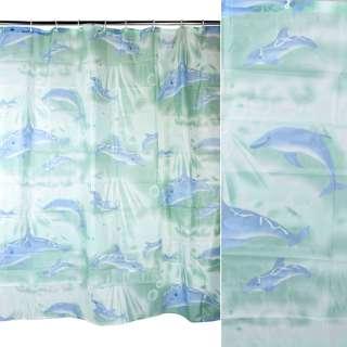 Шторка для ванной с дельфинами 178х178 см зеленая оптом