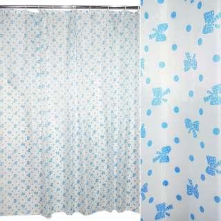 Шторка для ванной с бантиком 178х178 см бело-голубая оптом