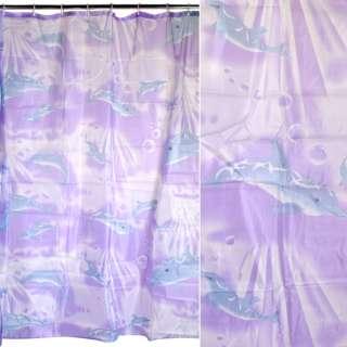 Шторка для ванної з дельфінами 178х178 см фіолетова оптом