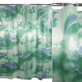 Шторка для ванной атласная с дельфинами 165х165 см зеленая оптом
