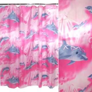 Шторка для ванной атласная с дельфинами 165х165 см малиново-молочная оптом