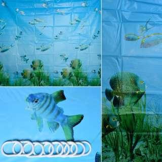 Шторка для ванной водный мир 178х183 см голубая оптом