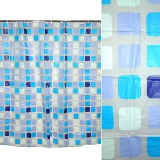 Шторка для ванной мозаика квадраты 178х183 см фиолетово-голубая оптом