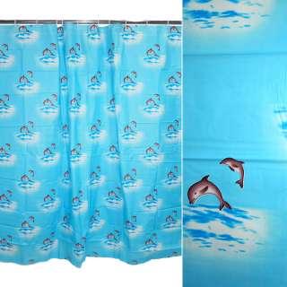 Шторка для ванной с дельфинами 177х183 см голубая оптом