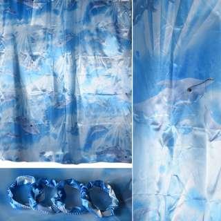 Шторка для ванной атласная с дельфинами 162х173 см молочно-голубая оптом
