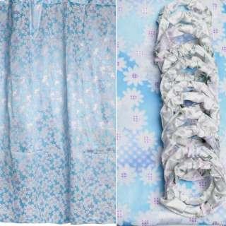 Шторка для ванной атласная с ромашками 178х183 см бело-голубая оптом