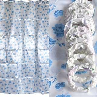 Шторка для ванной атласная с цветами 178х183 см бело-голубая оптом