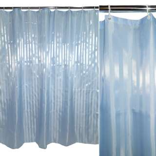 Шторка для ванной жаккардовая полоска 177х183 см голубая оптом