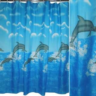 Шторка для ванної з дельфінами і хмарами 175х178 см блакитна оптом