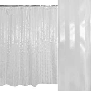 Шторка для ванной жаккардовая полоска 178х183 см белая оптом