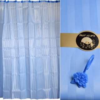 Шторка для ванной жаккардовая полоска 178х183 см голубая оптом