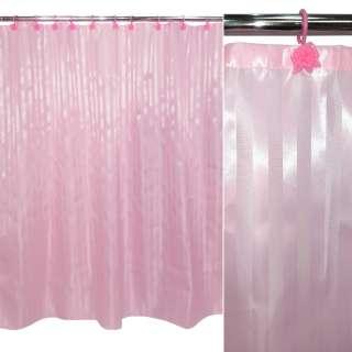 Шторка для ванной жаккардовая полоска 178х183 см розовая оптом