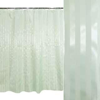 Шторка для ванной жаккардовая полоска 178х183 см светло-бирюзовая оптом