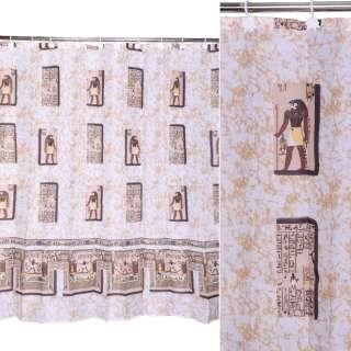 Шторка для ванной Египет 178х183 см бежево-коричневая оптом