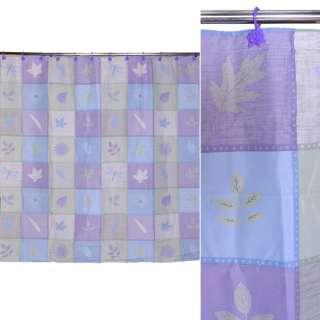 Шторка для ванной квадратами с листьями 178х183 см сиреневые голубые салатовые оптом