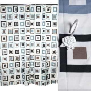 Шторка для ванной квадратами 178х183 см бежевые черные серые оптом