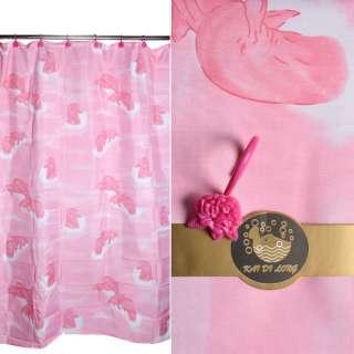 Шторка для ванної з дельфінами 178х183 см рожева оптом